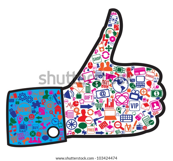 hand with social media icons - vector illustration