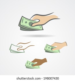 Hand with some money symbol collection. Vector illustration