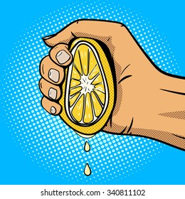 Hand squeezes lemon pop art comic book style vector illustration