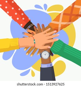 Hand stack of multi culture people. Palm pile of friends with different ethnicity. African and indian, caucasian person unity. Multi-ethnic teamwork or friendship. Team, teamwork, togetherness, group