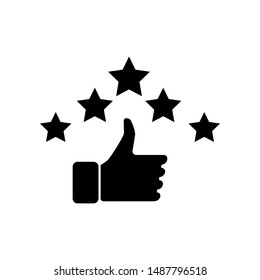 Hand and star signage design trendy. Like black icon. Thumbs up illustration. Good, nice, ok hand gesture. Social media button. Rating, ranking. Contour symbol. Vector isolated outline.