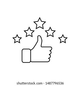 Hand and star signage design trendy. Like linear icon. Thumbs up. Thin line illustration. Good, nice, ok hand gesture. Social media button. Rating, ranking. Contour symbol. Vector isolated outline.