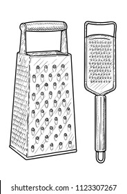 Hand steel grater illustration, drawing, engraving, ink, line art, vector