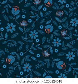 Hand stitch Embroidery seamless pattern with beautiful wild flowers delicate vector print  illustration design for fashion ,fabric,wallpaper,cover,web, and all prints on dark green background color