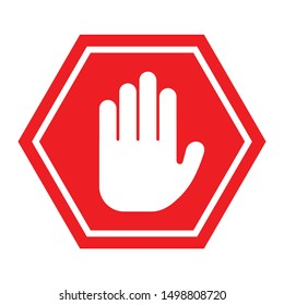 Hand Stop Icon Vector Sign & Symbol. - Vector