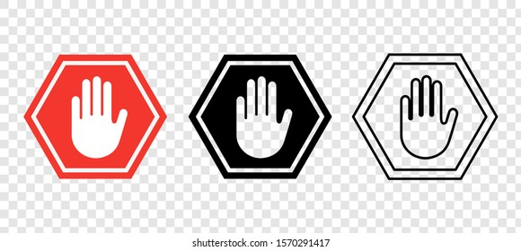 Hand Stop Icon Vector Sign & Symbol. Vector illustation. EPS 10
