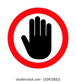 Hand stop sign, push icon, vector illustration