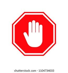 Hand stop sign, vector illustration icon