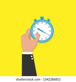 Hand with stopwatch concept. Vector illustration.