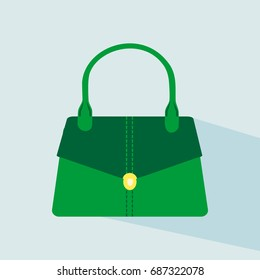 Hand stylish bags. Green colored womans bags, for lady. Colorful female modern bag icon. Vector illustration EPS10