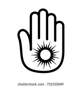 Hand sun shining palm open logo icon. Outline illustration of hand open palm with sun shining number open vector illustration for print or web design.