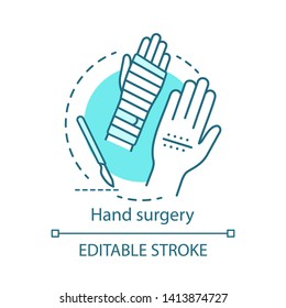 Hand surgery concept icon. Orthopaedic surgery idea thin line illustration. Wrist, forearm problem. Joint replacement. Tendon and nerve repair. Vector isolated outline drawing. Editable stroke