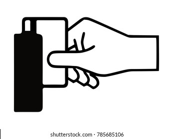 Hand swiping card vertically icon,  logo isolated, symbol, sign, 2D flat Style graphic design. Black and white color. Vector illustration