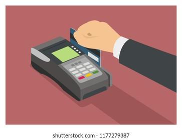 hand swiping credit card on the EDC machine, isometric view