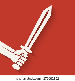 hand with sword symbol. vector illustration - eps 10