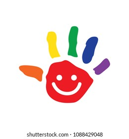 Hand Symbol with rainbow color and smile face in the middle vector