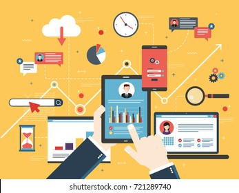 Hand with tablet with performance analysis, laptop and internet screen with data, search icons and project management, application developments. Concept for successful business in flat vector design.