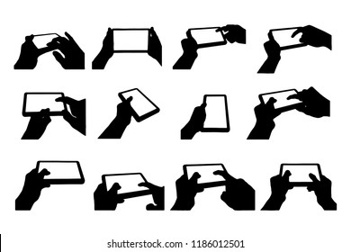 hand with tablet silhouette clip art icon collection on white background design by vector