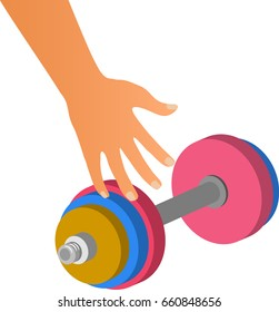 Hand takes or gives dumbbell. Isolated on white background