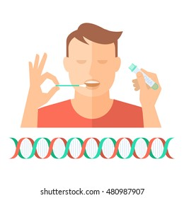 Hand taking a bodily fluid sample for DNA test from a man. Concept flat illustration of hand holding a swab, a man with open mouth, and hand with test-tube container. Vector infographic element.