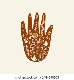 Hand with tattoo. Crystals, snakes and cacti plants. Eye of Providence. Moon goddess symbol. Astrology, alchemy, boho and magical symbols. Vector illustration.