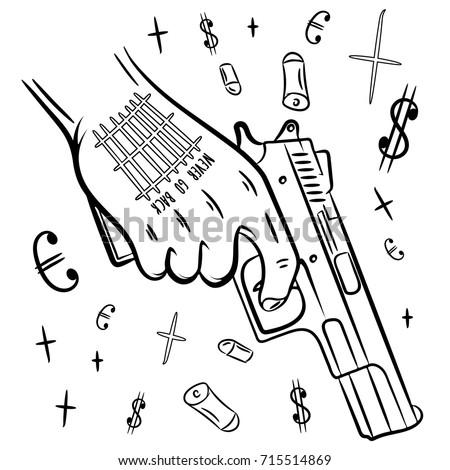 Hand Tattoo Holding Gun Dope Tshirt Stock Vector Royalty Free