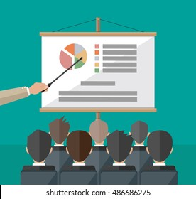 hand of teacher with pointer in front of screen with chart pie do presentation to other business people. Training staff, meeting, report, business school. vector illustration in flat style