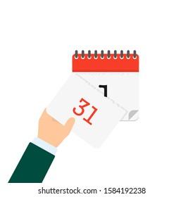 hand tears off calendar in flat style, vector