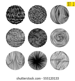 Hand texture. Set. The art collection of black design elements: circles, brush, wavy lines, abstract backgrounds, patterns. Vector illustration EPS 10. Isolated on white background. Freehand drawing.