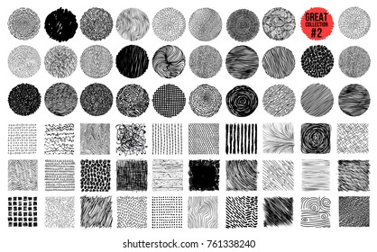 Hand texture. Set. The art collection of black design elements_circles, brush, wavy lines, abstract backgrounds, patterns. Vector illustration EPS 10. Isolated on white background. Freehand drawing