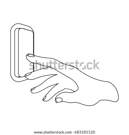 a hand that includes an electric switch  push button switch single icon in  outline style vector symbol stock illustration web  - vector