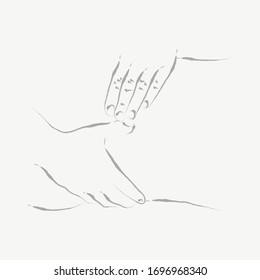 Hand Therapies: Physiotherapy, Osteopathy, Kinesiology, Massage - Continuous Line Seamless Hand-Drawn Illustration, Minimalist Single Line Drawing.