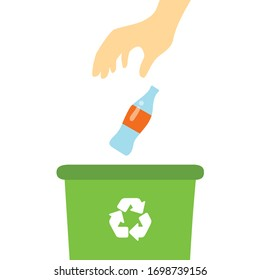 Hand throwing a glass bottle into a recycle bin. Garbage container. Flat design, vector illustration.