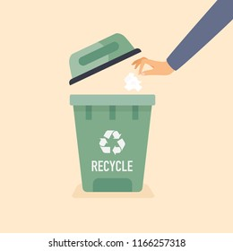 Hand throwing used paper into the trash. Recycling Vector Concept.