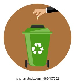 The hand throws the garbage into the container. The hand throws the rocker from the apple into a special garbage can. Flat design, vector illustration, vector.