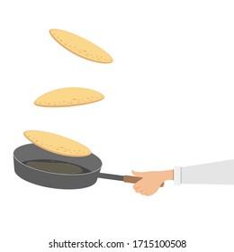 Hand throws pancakes in a pan. Vector illustration, flat cartoon design.