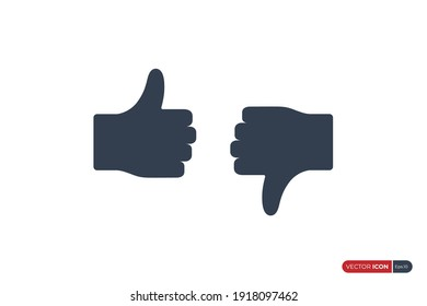 Hand Thumb Up and Hand Thumb Down Icon. Like and Dislike Symbol isolated on White Background. Flat Vector Icon Design Template Element.
