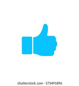 Hand Thumb Up icon flat. Blue pictogram on white background. Vector illustration symbol