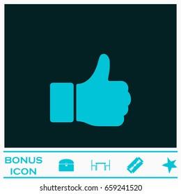 Hand Thumb Up icon flat. Blue pictogram on dark background. Vector illustration symbol and bonus icons