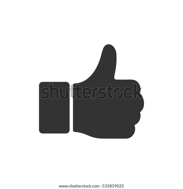 Hand Thumb Up icon flat. Illustration isolated on white background. Vector grey sign symbol