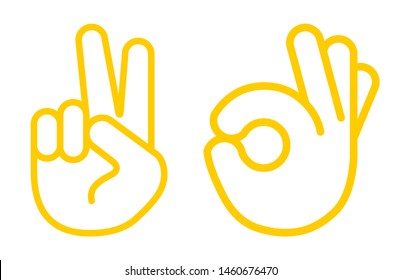 Hand Thumb Up icon flat lines. Vector yellow sign symbol. and Sign of victory. The gesture of the hand. Two fingers raised up. Illustration isolated on white background.