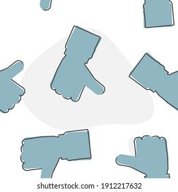 Hand Thumb Up icon flat. Vector illustration thumb up cartoon style on seamless pattern on a white background.