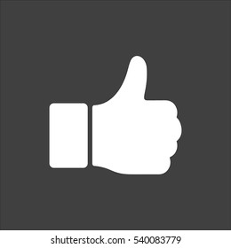 Hand Thumb Up icon flat. Vector white illustration isolated on black background. Flat symbol