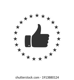 hand with thumb up and stars rating icon