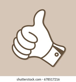 Hand with Thumb Up Vector Icon