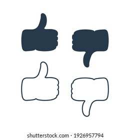 Hand with Thumbs Up and Hand with Thumbs Down Icon with fill and Line style. Like and Dislike Symbol. Flat Vector Icon Design Template Element.