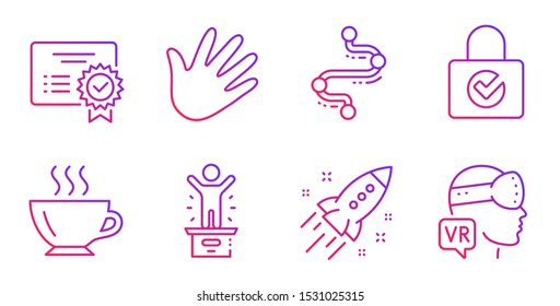 Hand, Timeline and Coffee line icons set. Certificate, Winner podium and Password encryption signs. Startup rocket, Augmented reality symbols. Swipe, Journey path. Business set. Vector