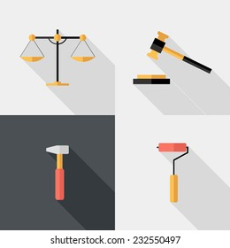 Hand tool and court icons. Flat design style modern vector illustration. Isolated on stylish color background. Flat long shadow icon. Elements in flat design.