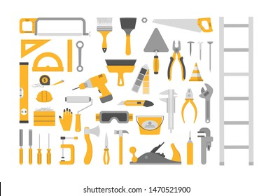 Hand tool set. Collection of equipment for repair. Saw and screwdriver, drill and level. Handyman tools. Isolated vector illustration in cartoon style