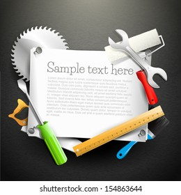 Hand tools and empty paper with place for your text - Carpentry background